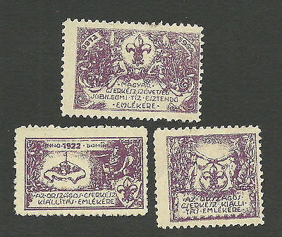 1922 Hungary Three Early Boy Scout Labels / Seals Scarce Set National Exhibition