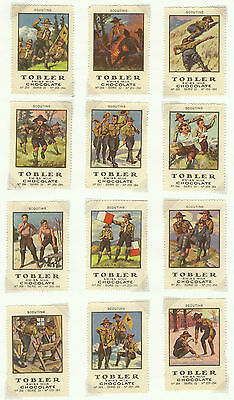 1920 Switzerland Tobler Chocolate Boy Scout Labels Whiet Borders