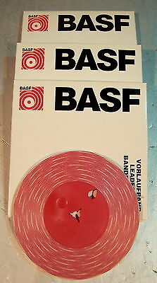 3x BASF Vorspannband leader tape rot/weiss 38cm/sec stereo - NOS