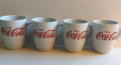 Gibson ENJOY COCA-COLA Coffee Tea Mugs ~ White Red Script ~ Set of 4 ~ New!