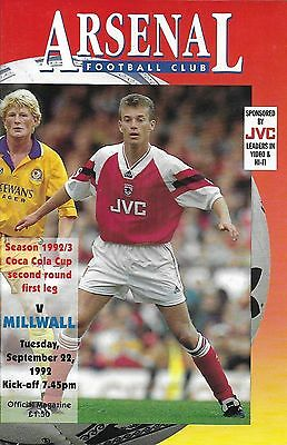 Football Programme ARSENAL v MILLWALL Sept 1992 Coca-Cola Cup