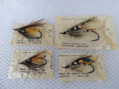 4x Vintage Hardy Fully Dressed Salmon Flies In Packets.