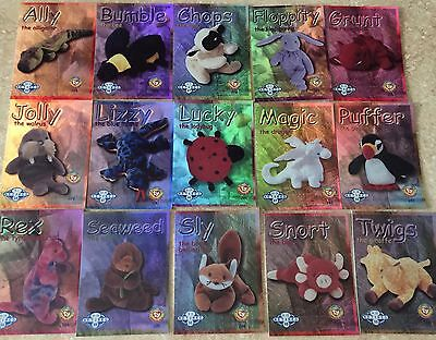 Ty Beanie Baby Series Ii / 2  Trading Cards Retired Blue/teal Complete Set - 15