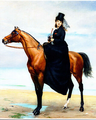 8x10 Equestrian Print c19th Victorian Lady Side Saddle Horse Riding Hat & Dress