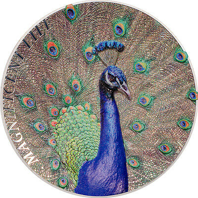2015 Magnificent Life PEACOCK 1oz Silver coin High Relief Proof Cook Islands $5