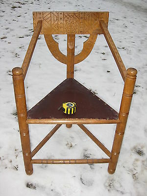 Antique Swedish Neo-Gothic 3-Legged Chair Solid Oak hand carved