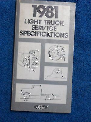 1981 Ford Pickup light Truck Service Specification Book Service Manual