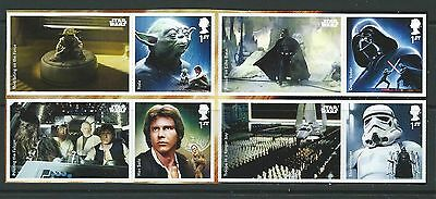 Great Britain 2015 Star Wars Un.mint 4 Litho Stamps Self Adhesive With Labels