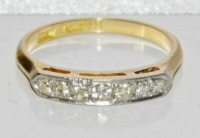 ANTIQUE 18 CT YELLOW GOLD & PLATINUM DIAMOND 7 STONE ETERNITY RING size N