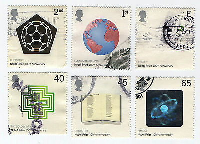 GB Stamps SG2232-2237, 2001 Centenary of Nobel Prizes. Used