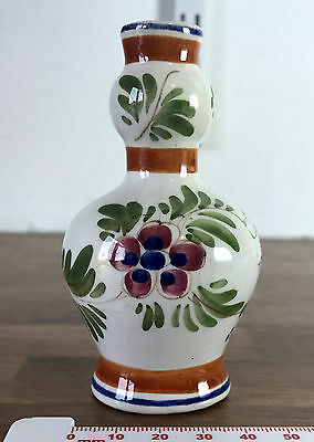 Small Delft Posy Vase Approx 10cm Tall - Decorated with Floral Design