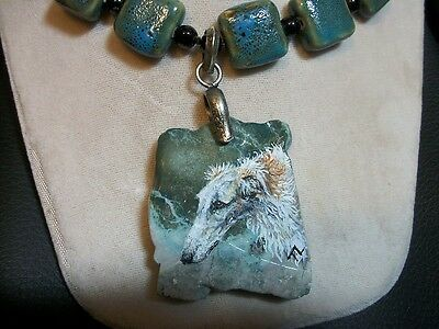 Hand Painted Borzoi Russian Wolfhound Bead/ natural stone pendant Necklace