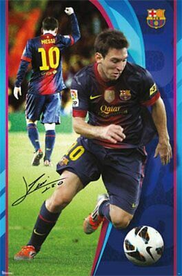 """Barcelona FC soccer poster 24 x 36"""" Lionel Messi player card"""