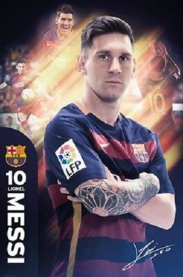 "Barcelona FC soccer poster 24 x 36"" Lionel Messi Tattoos"