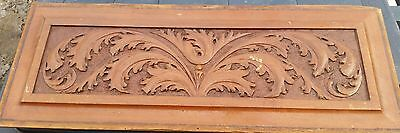 "Vintage carved carving panel oak leaves 10 x 24"" walnut pediment"
