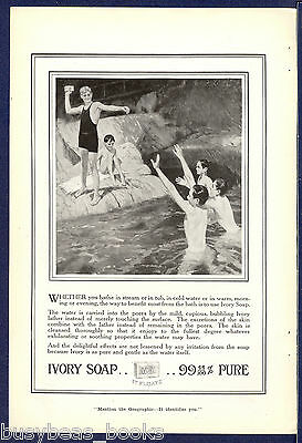 1915 IVORY Soap advertisement, young boys swimming/bathing