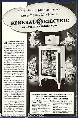1934 GENERAL ELECTRIC advertisement early monitor-top refrigerator Mom kitchen