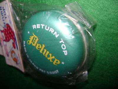 "1960's Metal Yo-Yo Return Top Deluxe Made In Japan ""koyo"" Green In Package"