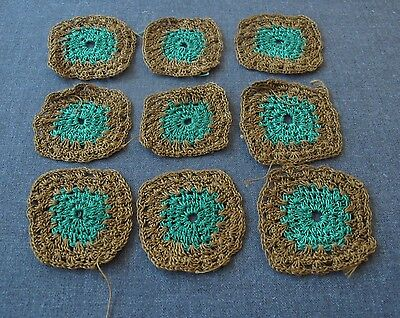 9 Vintage Hand Crocheted Green & Brown Granny Squares