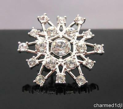 SWAROVSKI SWAN SIGNED Crystal Snowflake Lapel Pin Silver Plated Authentic