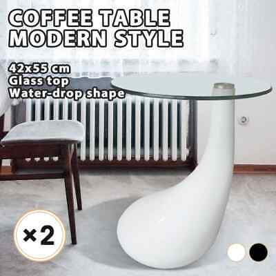 Quantity 1/2 White/Black High Gloss Coffee/Side Table Glass Dinner Living Room