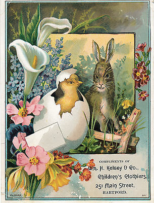 c1890s Easter Bunny, Kelsey Children Clothes, Hartford, CT Victorian Trade Card