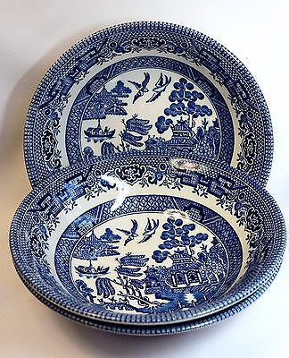 3 Blue Willow Churchill  Made in England Dessert Bowls 6 Inch