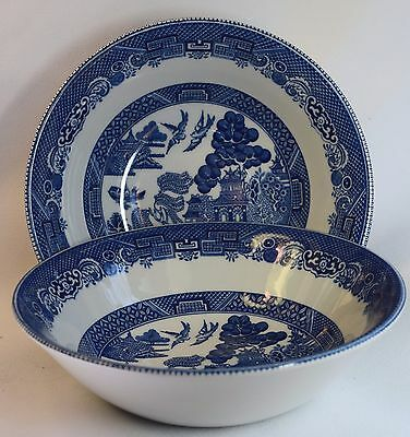 2 Blue Willow Johnson Brothers Made in England Dessert Bowls 6 Inch