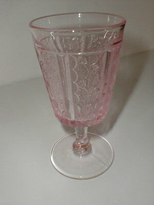 L G Wright Glass Pink PANELED DAISY Water Goblet