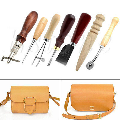 7X Leather Craft Punch Tools Kit Stitching Carving Working Sewing Saddle Groover