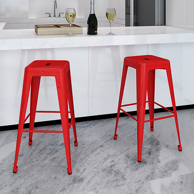 Modern 2x Counter Bar Stool Steel High Seat Chair Red Kitchen Dining Room Cafe
