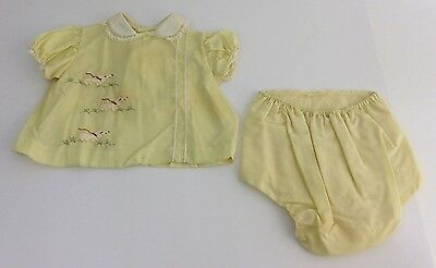 Vintage 1950s 60s Infant Toddler Girls Yellow Embroidered Dogs Outfit, Size 12M