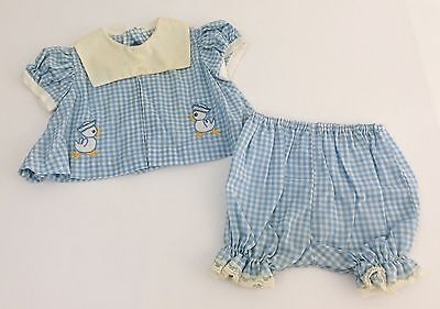 Vintage 1950s 60s Infant Toddler Girl Blue & White Plaid w/Ducks Outfit Size 9M