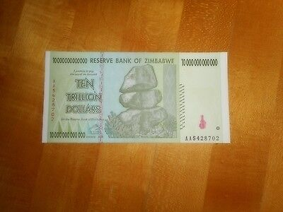 Zimbabwe 10 Trillion Dollar Banknote- Unc Paper Currency