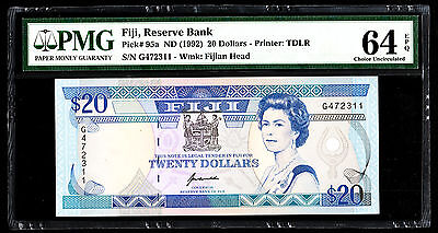 Fiji $20 ND 1992 P. 95a PMG 64 Choice UNC EPQ QEII RARE Note