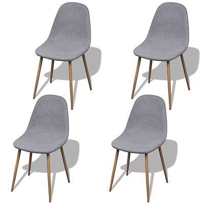 4 Light Grey Fabric Upholstery Dining Chairs Iron Legs Kitchen Cafe Furniture