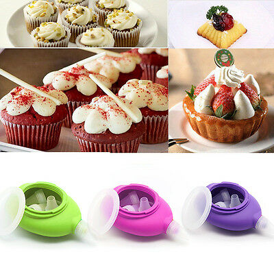 3 Colors Silicone Cake Icing Piping Decorating Pen +6 Nozzles Set Baking Tool TY