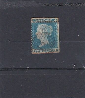 GB QV 1841  2d BLUE IMPERF/PERF 16 ON ONE SIDE AND THROUGH TOP LINE ERROR USED