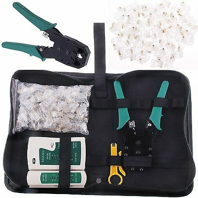Network Ethernet RJ45 Cat5e Cable Crimp Crimping Tester Tool Kit +100 Connectors