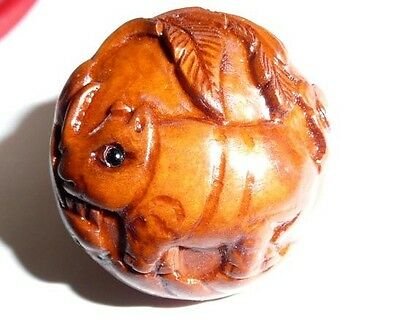 "Cute Hand Carved Rhino Round Boxwood Shank Button - Approx. 1"" diameter"