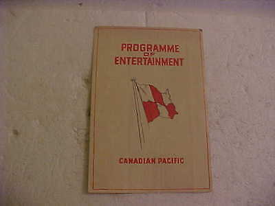 1930 Canadian Pacific Steamship Empress Of Australia Entertainment Program
