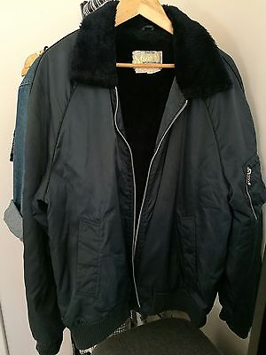 VINTAGE Navy Blue Faux Fur Collar Jacket Windbreaker