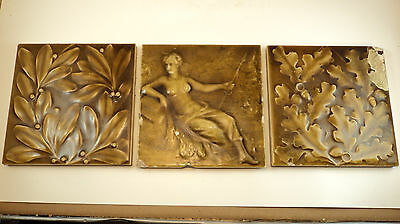 Beautiful Antique 3 piece Glazed Tiles Woman with Spear
