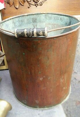 5 gallon copper pail with wire and wood handle antique