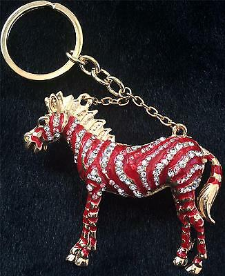 Stunning Red Clear Crystal Horse Keyring/ Bag Charm New In Gift Bag