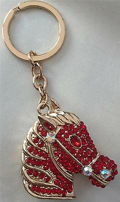 Stunning Red Crystal Horse Head Key / Bag Charm New In Gift Bag