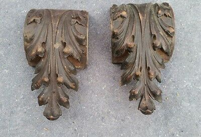 Antique  Carved furniture pediment well done pair