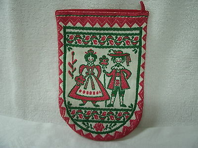 Potholder/Oven Mit-- Embroidered *Sweden Couple* Red & Green--Unused
