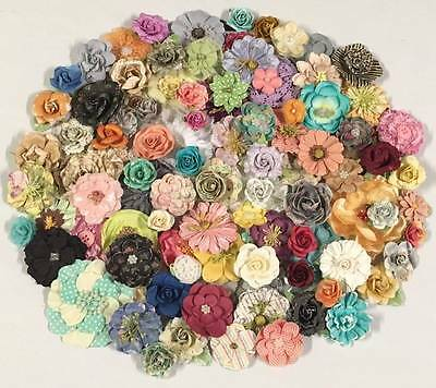 Prima * HUGE LOT MIXED DIMENSIONAl FLOWERS LOT #6 * 100 Pieces * Paper & Fabric