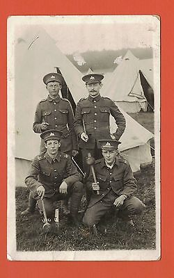 1910 RP Postcard, Four Soldiers, Lincolnshire Regiment